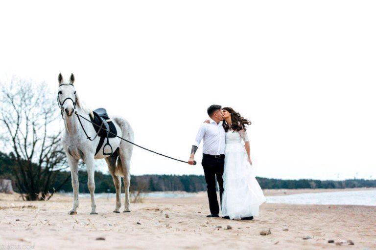 свадьба на пляже с лошадью