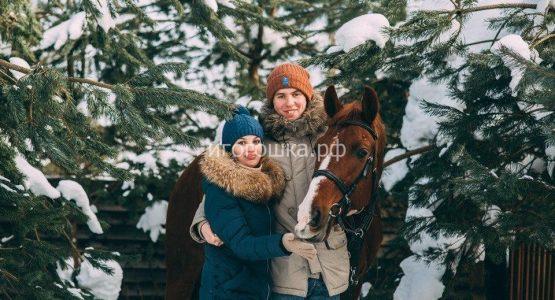зимняя фотосессия на лошадях